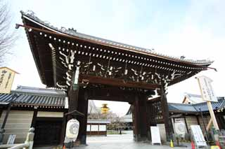 photo,material,free,landscape,picture,stock photo,Creative Commons,The west Honganji shrine in which the founder's image is installed in gate, Honganji, Chaitya, The gate, lantern