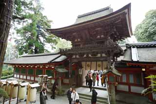 photo,material,free,landscape,picture,stock photo,Creative Commons,Ishigami major shrine tower gate, The Japanese Chronicle of Japan, description of folk history, wooden building, I am painted in red
