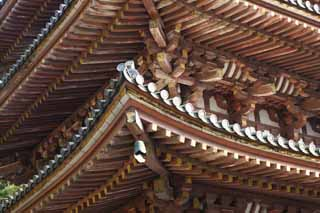 photo,material,free,landscape,picture,stock photo,Creative Commons,Daigo-ji Temple Five Storeyed Pagoda, Chaitya, I am painted in red, roof tile, wind-bell