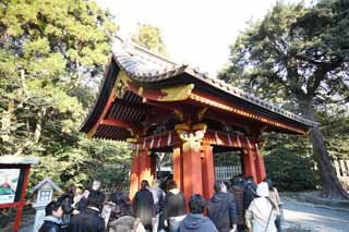 photo,material,free,landscape,picture,stock photo,Creative Commons,Hachiman-gu Shrine small pavilion with water and ladles, The facilities, New Year's visit to a Shinto shrine, I am painted in red, Worship