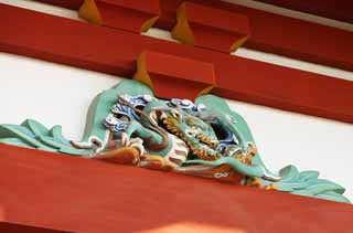 photo,material,free,landscape,picture,stock photo,Creative Commons,Hachiman-gu Shrine dragon, dragon, , I am painted in red, carved wooden panel above paper sliding door