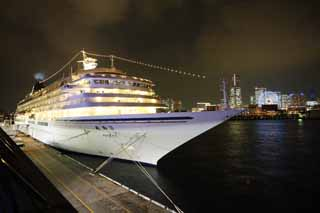 photo,material,free,landscape,picture,stock photo,Creative Commons,Luxurious passenger liner Asuka II, The sea, ship, large pier, Yokohama
