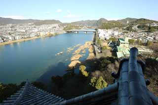 photo,material,free,landscape,picture,stock photo,Creative Commons,The Inuyama-jo Castle castle tower, white Imperial castle, Kiso-gawa River, castle,