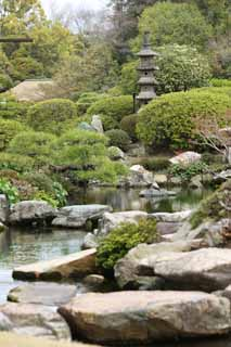 photo,material,free,landscape,picture,stock photo,Creative Commons,Koraku-en Garden Enyoutei, pond, rock, stone lantern, Japanese garden