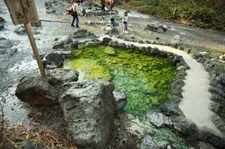 photo,material,free,landscape,picture,stock photo,Creative Commons,The pond of the Kusatsu hot spring good luck, rock, hot spring, Sulfur, Hot water