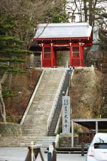 photo,material,free,landscape,picture,stock photo,Creative Commons,Kusatsu hot spring light spring temple, Mt. Kusatsu, stone stairway, Buddhism, Tower gate