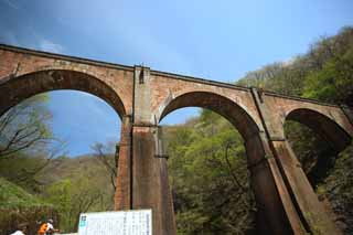 photo,material,free,landscape,picture,stock photo,Creative Commons,Megane-bashi Bridge, railway bridge, Usui mountain pass, Yokokawa, The third Usui bridge