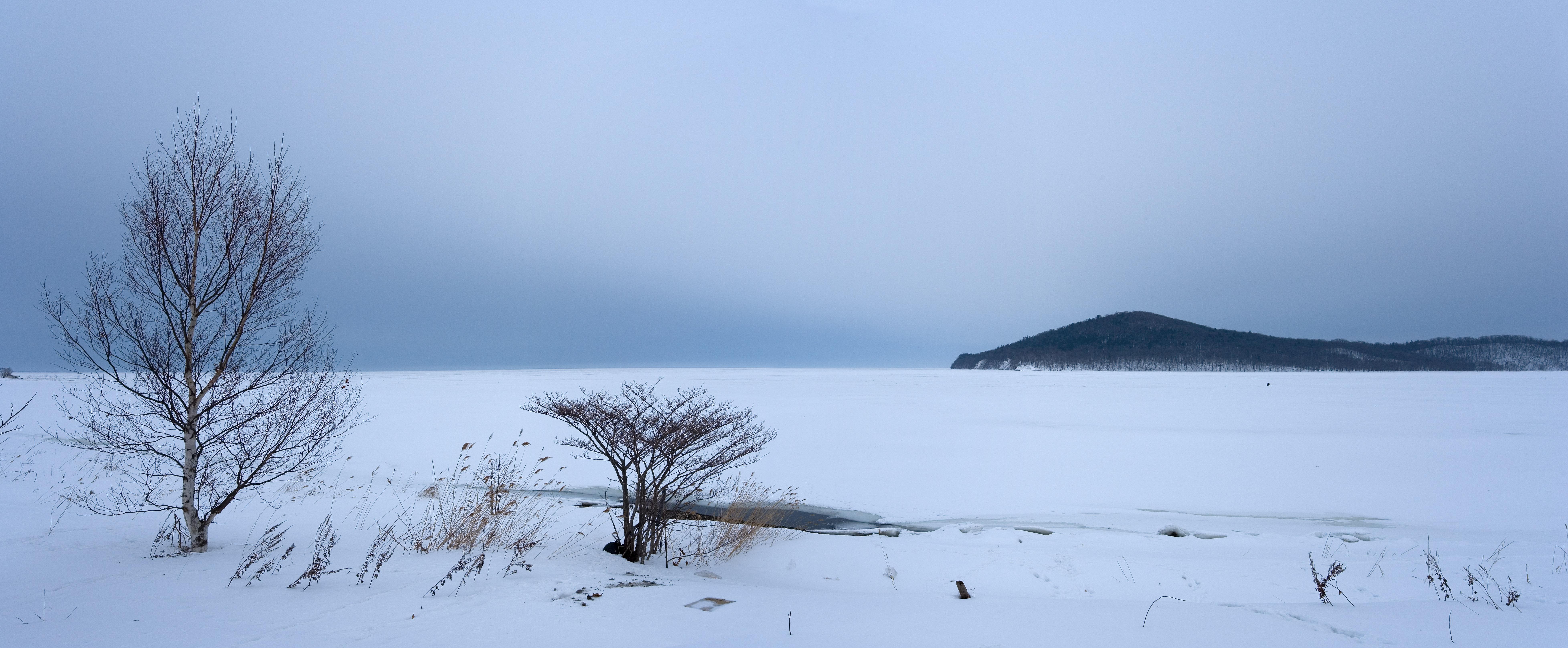 ゆんフリー写真素材集 No 3346 サロマ湖の冬 日本 北海道